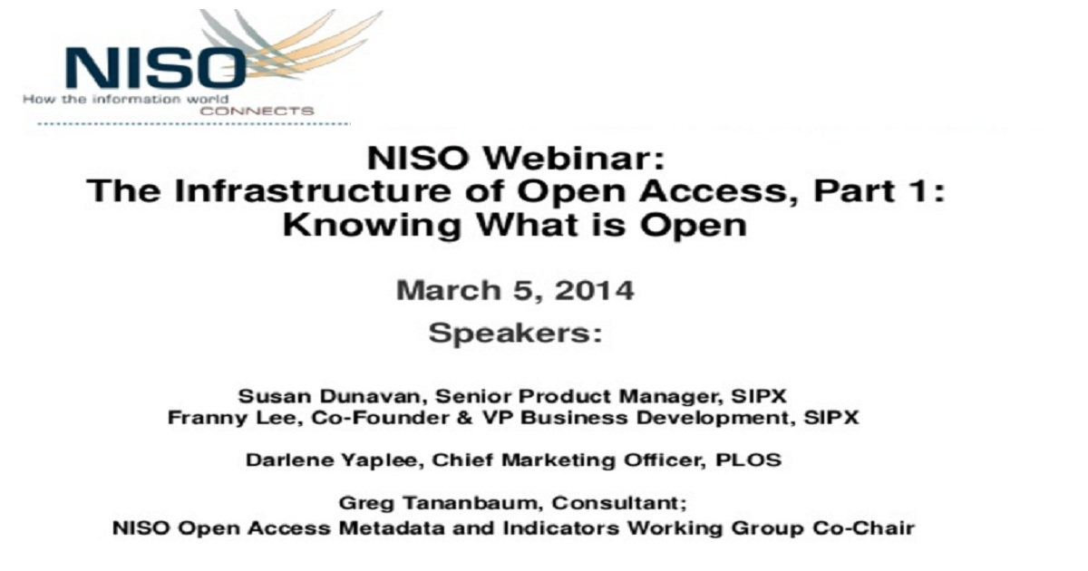 The Infrastructure of Open Access