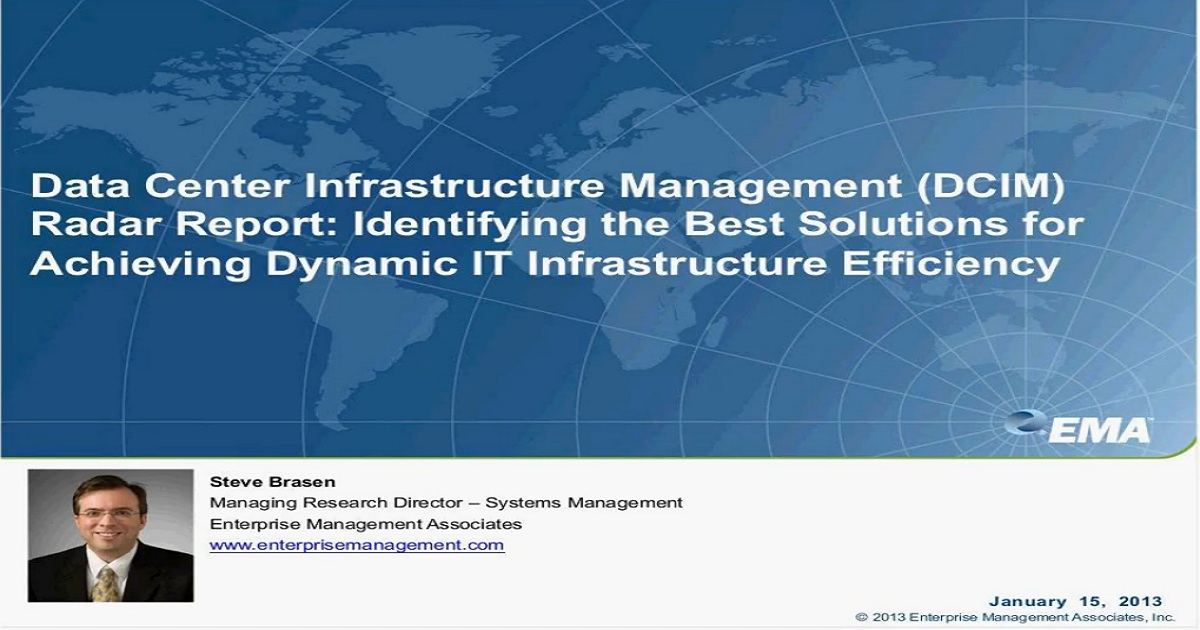 EMA Data Center Infrastructure Management DCIM Radar Report Webinar