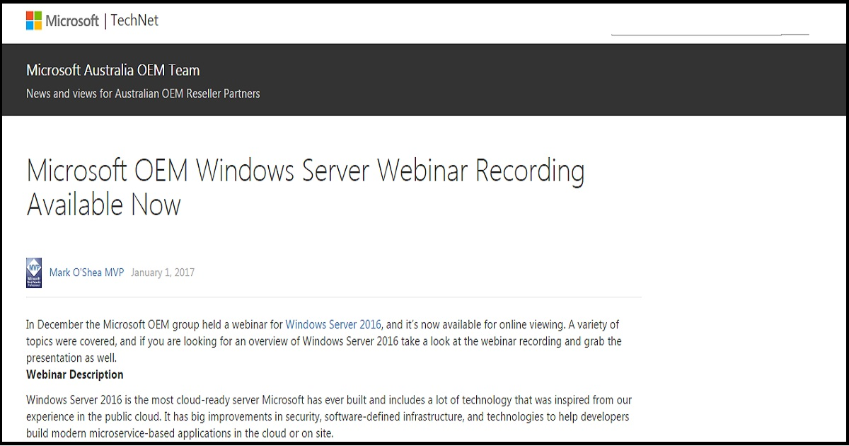 Microsoft OEM Windows Server Webinar Recording Available Now