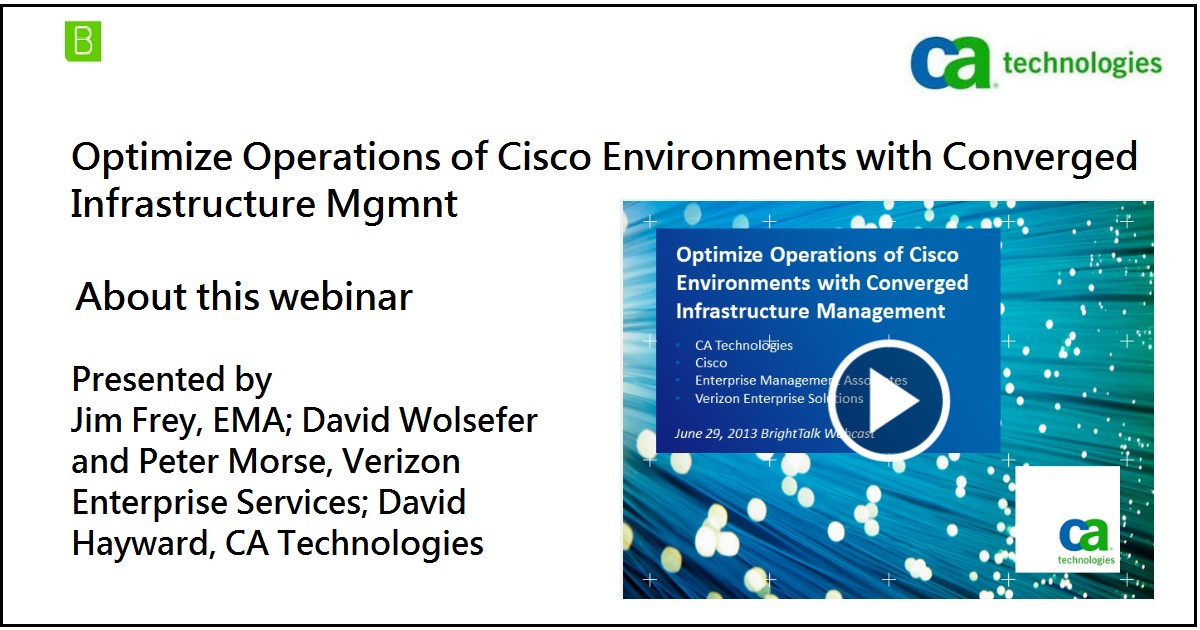 Optimize Operations of Cisco Environments with Converged Infrastructure Mgmnt