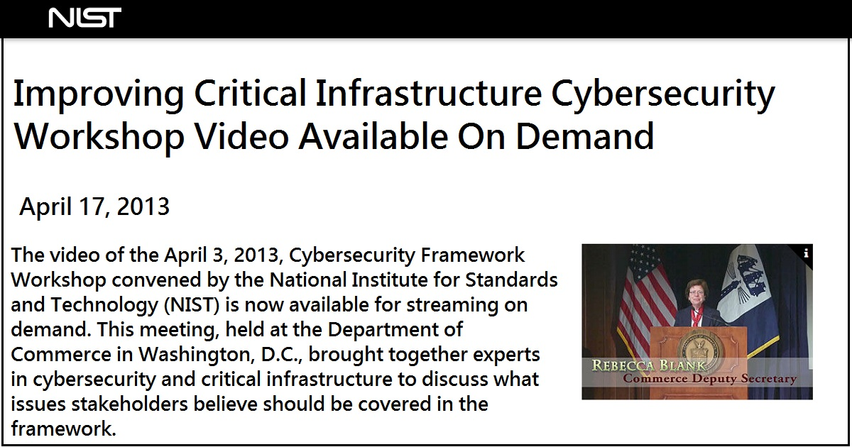 Improving Critical Infrastructure Cybersecurity Workshop Video Available On Demand